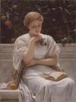 A Girl Reading / O fată citind (1878) de Charles Edward Perugini (1839-1918)  http://goldenagepaintings.blogspot.co.uk/2011/05/charles-edward-perugini-girl-reading.html